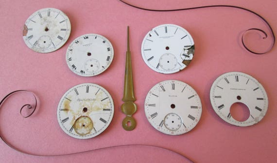 Lot 9 - 6 Assorted Antique and Vintage Ceramic Pocket Watch Dials for your Watch Projects - Jewelry Making - Steampunk