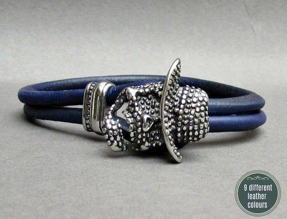 Freddy Krueger Leather Bracelet, Stainless Steel Mens Leather bracelet Cuff Gift For Men Customized On Your Wrist