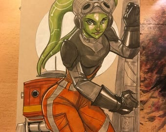 """Hera Syndulla and Chopper from """"Star Wars Rebels"""" illustration by artist Tom Hodges"""