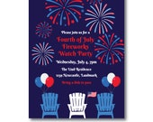 Fireworks Party Invitation, 4th of July Invitation, Independence Day Invitation, 4th of July Fireworks Watch Party invite, Instant Download