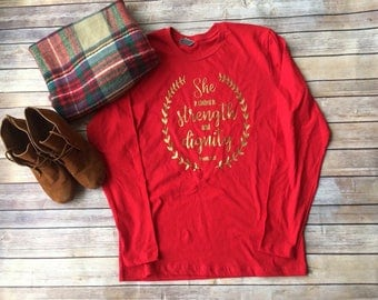 Bible Verse Valentines Shirt, Clothed in strength and dignity shirt, Proverbs 31 Shirt, Proverbs Wife, Proverbs Woman, Valentines Shirt