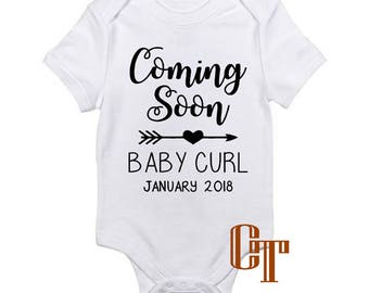 Pregnancy Announcement Coming Soon Custom Baby Name Reveal Onesie Due Date Baby Infant Outfit Newborn Gift Bodysuit Pregnant Photography