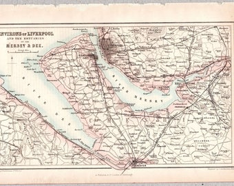 Vintage map of the Environs of Liverpool, the Mersey and Dee Estuaries published circa 1875, Imperial Gazetteer of England & Wales #00186