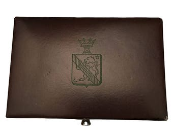 Men's Accessories Jewelry Box, Cufflinks Box, Tie Bars Box, Men's Valet, Brown Man Jewelry Box, Lion Crest Crown, Tie Tack Holder,  Lidded