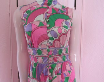 "1960s Sleeveless Geometric Print Maxi-Dress, Designed by ""Ruth Walter,""Size S"