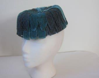 1950s Blue Velvet and Blue Satin Pillbox Hat