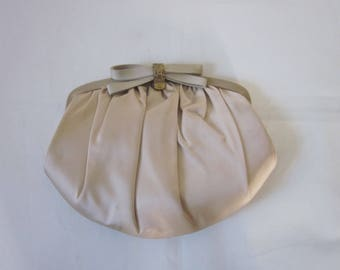 "1960s Beige Satin Evening Purse by ""HL, U.S.A."""
