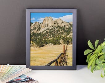 Framed photo paper poster - Red Silo Original Art - Granite Mountain Fence Line
