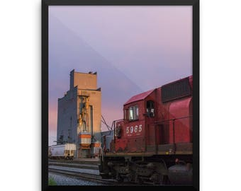 Framed photo paper poster - Red Silo Original Art - Canadian Pacific Elevator