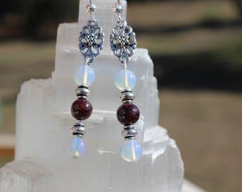 Garnet Earrings-Opalite Earrings-Flower Earrings- Red Earrings-Handmade Earrings-Everyday Earrings-Semi Precious Stone Earrings