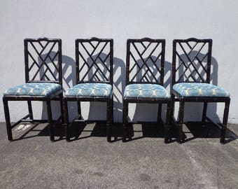 Dining Chairs Chinese Chippendale Faux Bamboo Boho Chic Hollywood Regency Rattan Seating Chinoiserie Seating Mid Century CUSTOM PAINT AVAIL