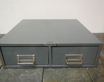 Steel Master 2 drawer Card Cabinet , Card File Drawer, Stacking Card Cabinet, Art Steel, Industrial