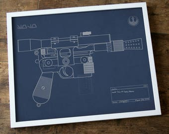 Blueprint of Han Solo's blaster. Star Wars, retro and rad. INSTANT DIGITAL DOWNLOAD.