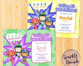 Team Umizoomi Birthday Invitations, Umizoomi Invites, Umizoomi Birthday Party, Custom Invite, Digital Download