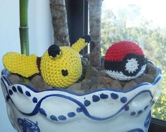 Handmade Cat Toy Pokeball + Pikachu crochet with catnip, 2 pc Pokemon