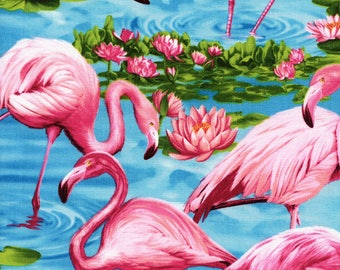 Pink Flamingos & Water Lilies Turquoise Timeless Treasures #5786 By the Yard