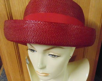 Red Womens Straw Hat by Betmar