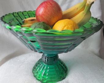 Vintage Green Blue Glass Pedestal Fruit Bowl, Large Flash Glass Compote