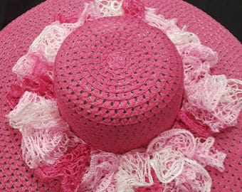 Pink Awareness Sun Hat with Ruffle Accent