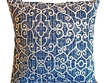 Pillow Pillows Cover Outdoor Indoor - Navy Blue White Lattice Throw pillow Accent Decor Patio 16x16