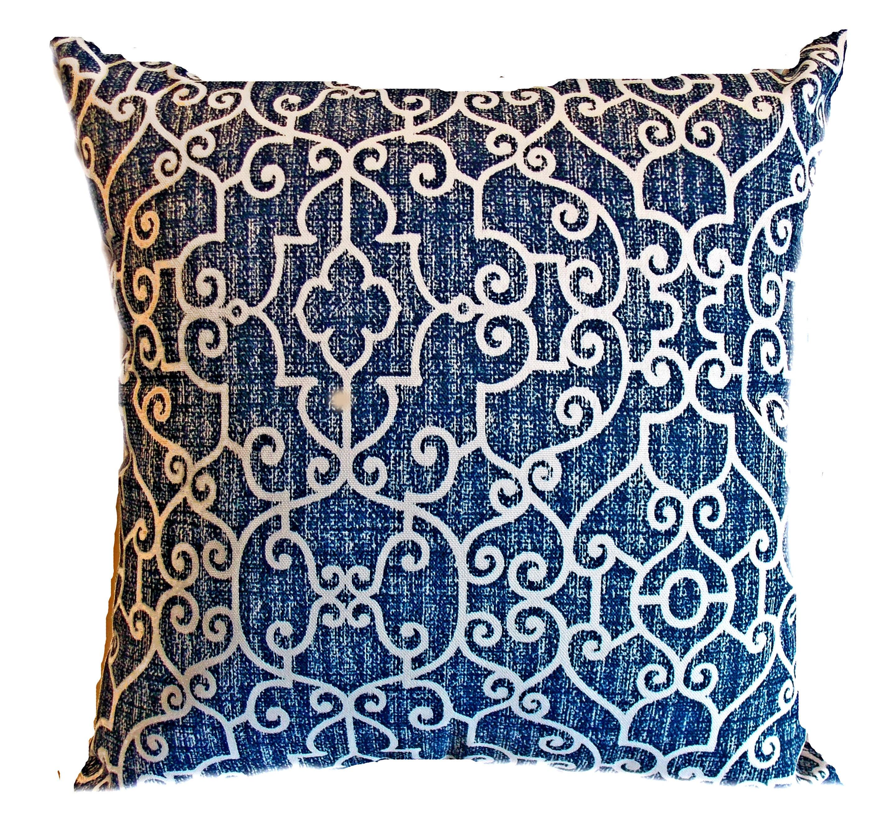 Pillow Pillows Cover Outdoor Indoor - Navy Blue White Lattice ...