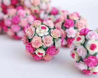 Small Paper Flower,Centerpieces, Decoration, 10  pieces pom pom flowers supplies,  pink to magenta color.