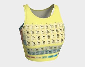 Periodic table of elements chemistry tank crop top sports bra handmade high quality science yoga artist original art printed chic geek wear