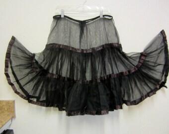 Vintage Petticoat Soft Tulle Slip/1950's Malco Modes Petticoat Slip/Black Petticoat Slip