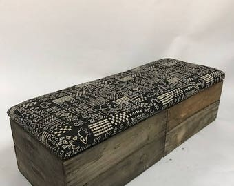 Upholstered Crate Storage Bench - Tribal