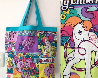 Handmade MY LITTLE PONY vintage fabric tote bag