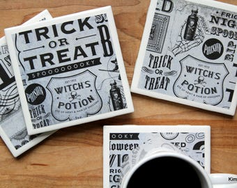Halloween Coasters - Coasters - Drink Coasters - Tile Coasters - Ceramic Coasters  - Ceramic Tile Coasters - Coaster Set - Table Coasters