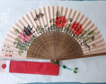 Korean fan with Butterflies ad Peonies Korean ink Painting Asian fan, traditional Korean art Hanbok accessories