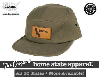 All 50 States Available: Home State Apparel - Five-Panel Flat Billed Leather Patch Hat