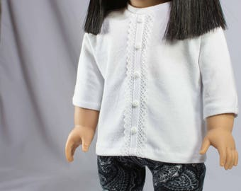 """American Girl or 18"""" doll TUNIC Top Shirt in White Knit with Lace Trim LEGGINGS Jeggings Tights in Black White"""