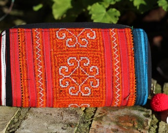 Thai Hill Tribe Embroidered Purse, large, wallet, credit card holder