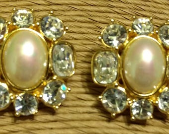 """Vintage Designer Signed Christian Dior Gold Toned Rhinestone And Faux Pearl """"Bling"""" Clip On Earrings"""