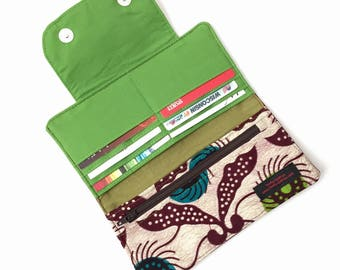 womens credit card holder for women, womens wallet slim womens wallet, womens wallet with coin purse, thin wallet, slim Ankara African