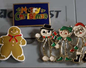 Christmas Holiday Brooches Pins