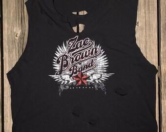 ZAC BROWN BAND Country Music Ultra Thin Custom Distressed T-Shirt Women's M-L