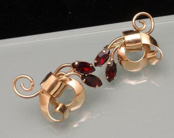 1940s Gold Filled Earrings with Red Stones
