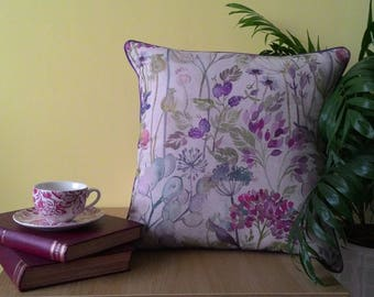 Handmade piped Voyage Hedgerow (Linen) Cushion - Large size