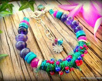Amethyst Boho Bracelet; Sari Silk Bracelet; Hippie Charm Bracelet; Bohemian Bracelet; Festival Jewelry; Yoga Jewelry; Australian Seller