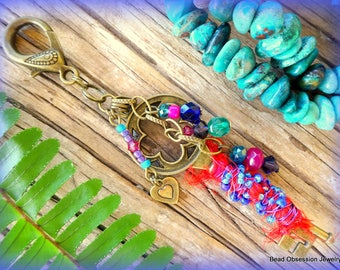 Bag Charm; Boho Bag Charm; Hippie Bag Charm; Bag Decoration; Bag Dangle; Bead Bag Charm; Bohemian Key Charm; Purse Charm; Australian Seller