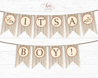 Woodland Baby Shower Banner, It's a BOY Banner, Woodland friends, Rustic Woodland Baby Shower, Baby Shower banner, PRINTABLE FILE
