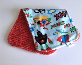 Minky and Chenille Burp Cloth Superhero Minky Print with Red Chenille