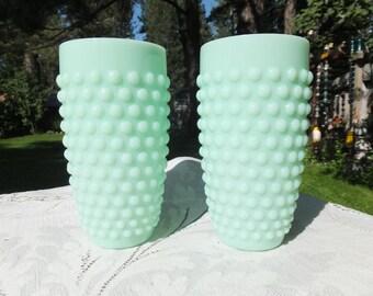 Jadeite Green Hobnail Plastic Tumblers