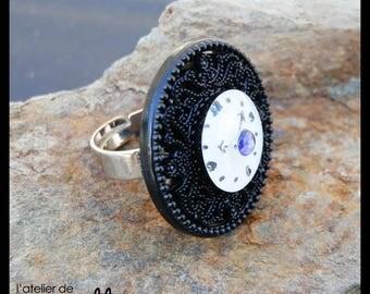 Clock white black purple button ring