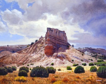 Southwestern Art Print of Realist Lanscape Oil Painting by Jurgen Wilms, 8x10 inches, 'Stormy Rock' Mesa, Red Rocks, New Mexico