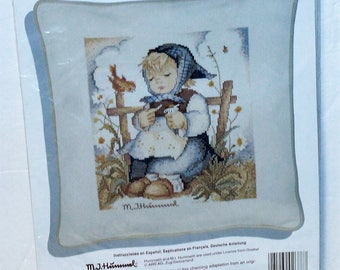 JCA Needle Treasures Hummel Pillow CoverHe Loves Me? counted cross stitch kit #02688