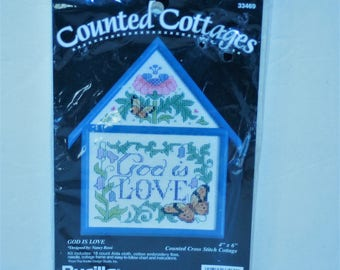 "Bucilla Counted Cottages God Is Love kit 33469 Counted cross stitch Vintage 1994 Sealed 4"" x 6"""